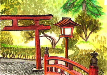 Torii Gate - ACEO watercolor pencil on paper by Audrey Breed.