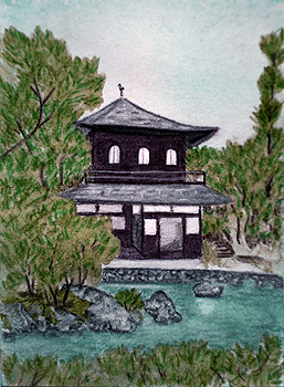 Ginkaku-ji - ACEO watercolor pencil on paper by Audrey Breed