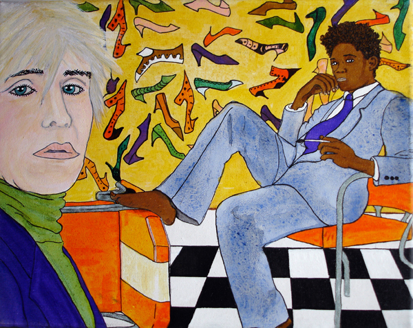 Andy & Jean Michel - acrylic and ink on 8 x 10 x 1/2 inch canvas, unframed.
