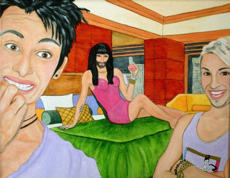 Conchita, Conchita, Conchita original acrylic and ink on 11 x 14 x 3/4 inch canvas framed painting by Audrey Breed.
