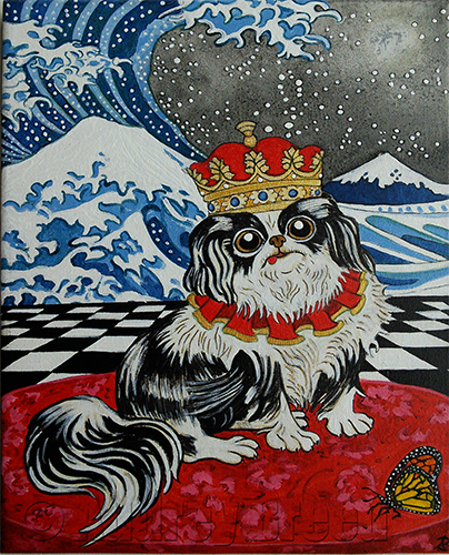 Dog, Japanese Chin wearing a crown sits on a red cushion next to a monarch butterfly.