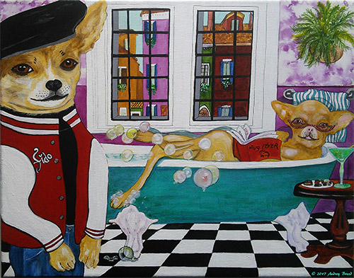 Fido and Fifi 11 x 14 inch painting by Audrey Breed.