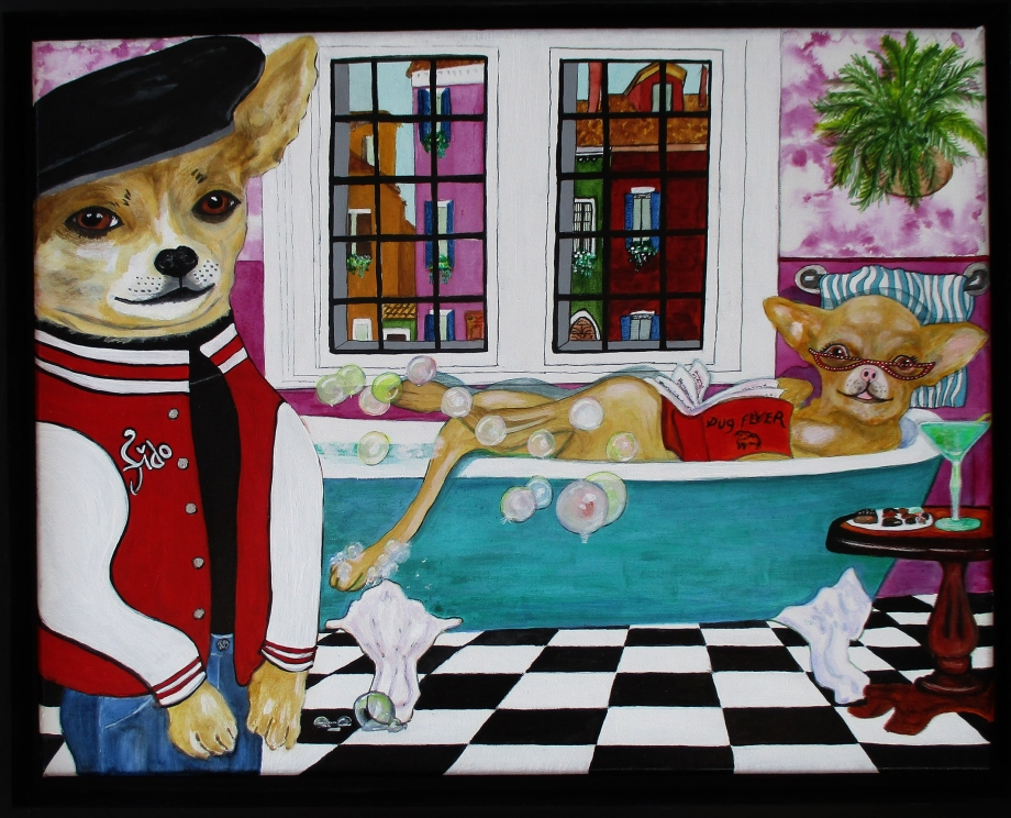 Fido and Fifi - Acrylic and ink on 11 x 14 x 3/4 inch canvas by Audrey Breed.