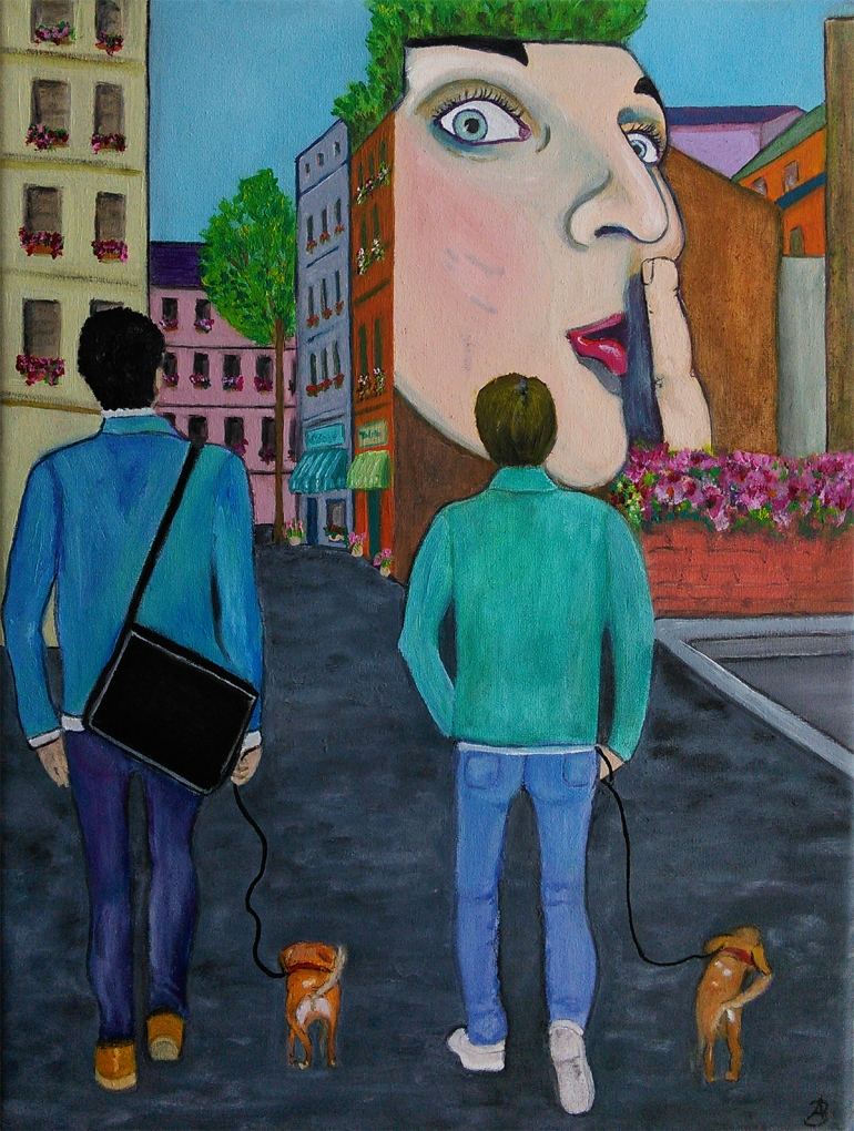 Paris Two Men Two Dogs - oil on 10 x 8 x 3/4 inch canvas by Audrey Breed, unframed.