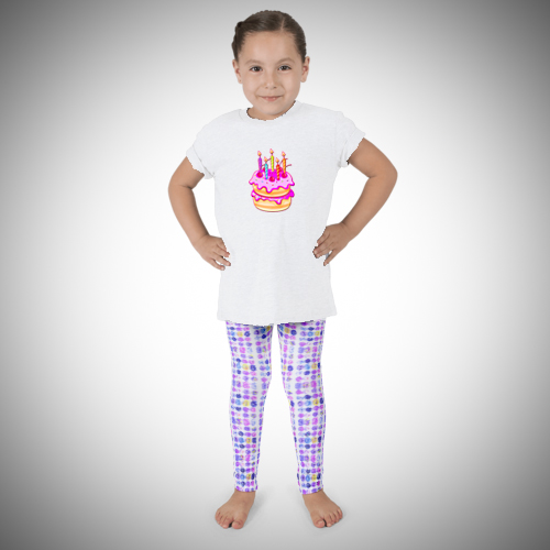 Birthday Cake Leggings & T-shirt for children designed by Audrey Breed.