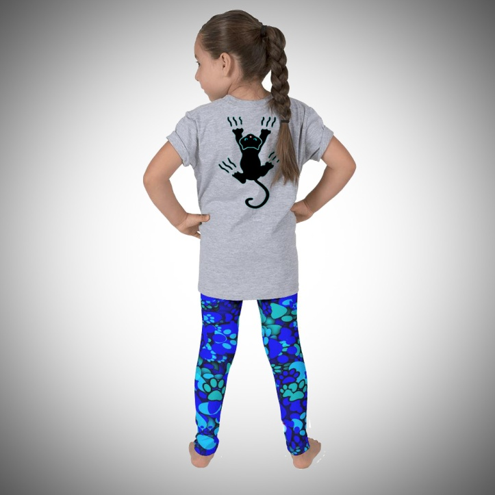 Crazy Cat T-shirt & Paws Leggings for children by Audrey Breed.