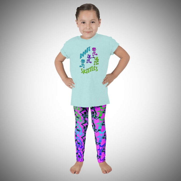 Robot Skittles T-shirt and Leggings for children by Audrey Breed.
