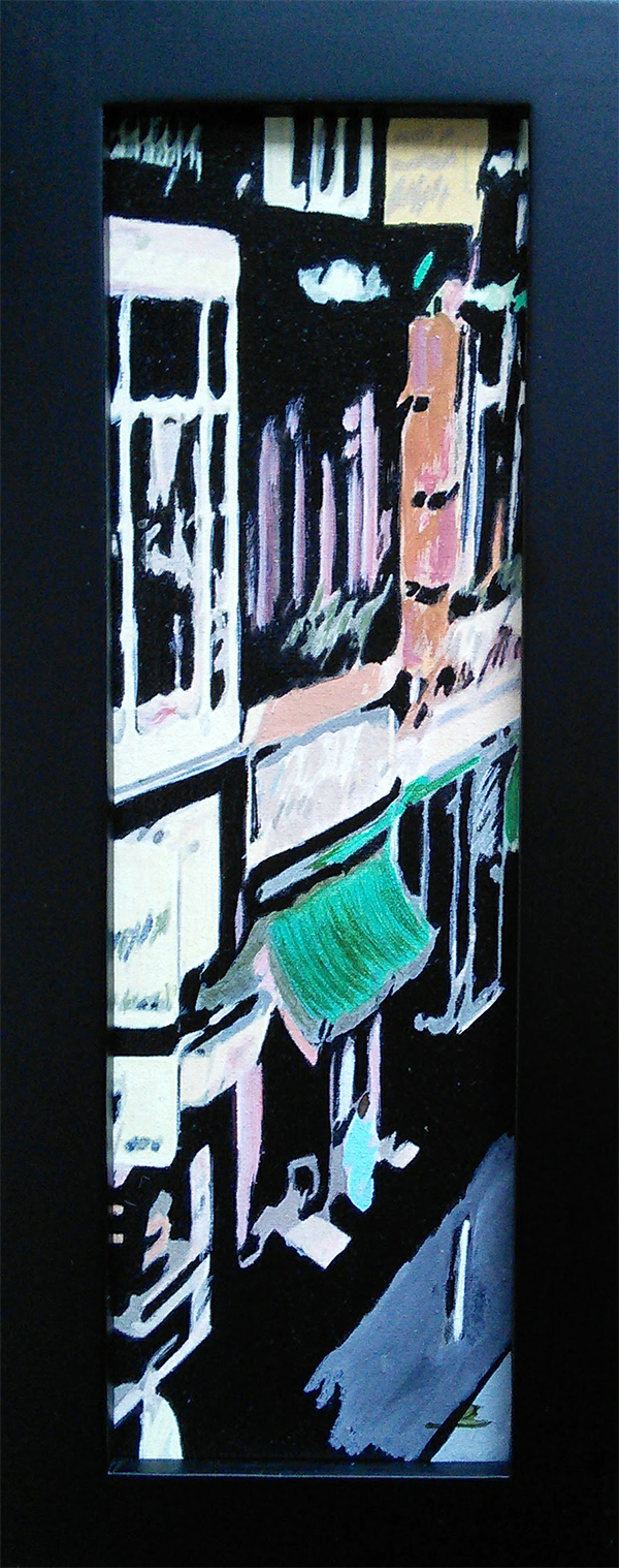 Dam Straat small format art painting by Audrey Breed