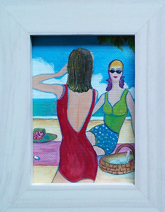 At the Beach - oil on canvas paper by Audrey Breed.
