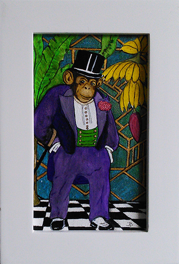 Tuxedo Monkey - acrylic and ink on 6 x 3 inch canvas by Audrey Breed.