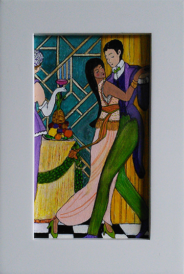 Last Dance - acrylic and ink on 3 x 6 inch canvas paper by Audrey Breed.