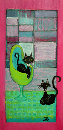 2 Cats Green Rug - oil on 6 x 3 x 3/4 inch panel, framed.
