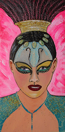 Jamal - oil and glitter on 6 x 3 x 3/4 inch panel painting, framed.