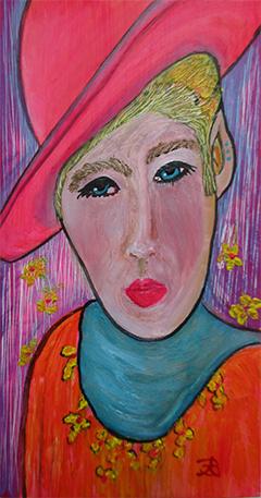Urban Cowboy - oil on 6 x 3 x 3/4 inch panel by Audrey Breed.