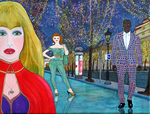 That Night in Paris - original acrylic and ink on 11 x 14 x 3/4 inch canvas, framed, by artist Audrey Breed.