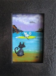 Volcano Cats - original mini oil painting by Audrey Breed.
