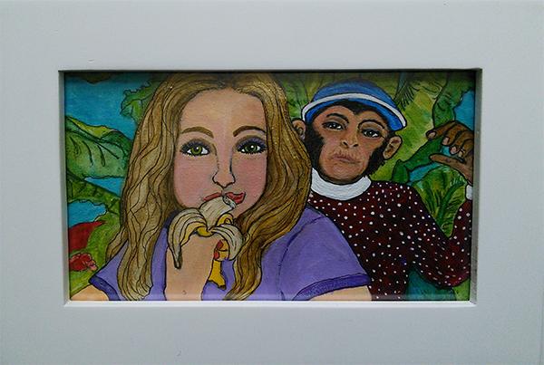 Anna Banana - acrylic & ink on 3 x 6 x 3/4 inch panel paintig framed