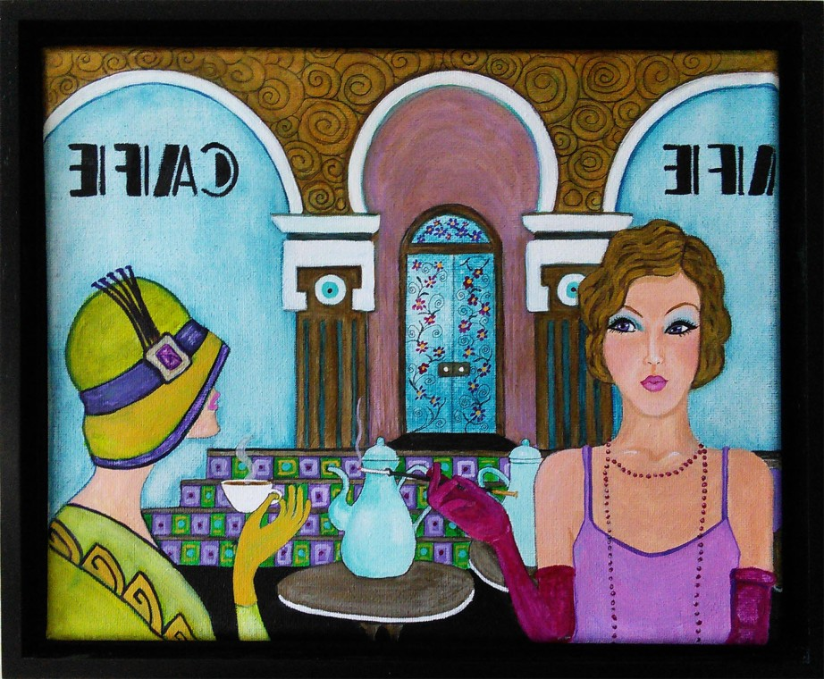 Cafe - Acrylic & ink on 8 x 10 inch canvas painting, framed