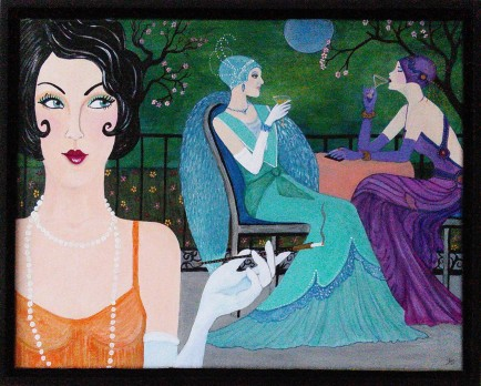 Blue Moon - Art Deco style acrylic on 11 x 14 x 3/4 inch canvas, framed by artist Audrey Breed
