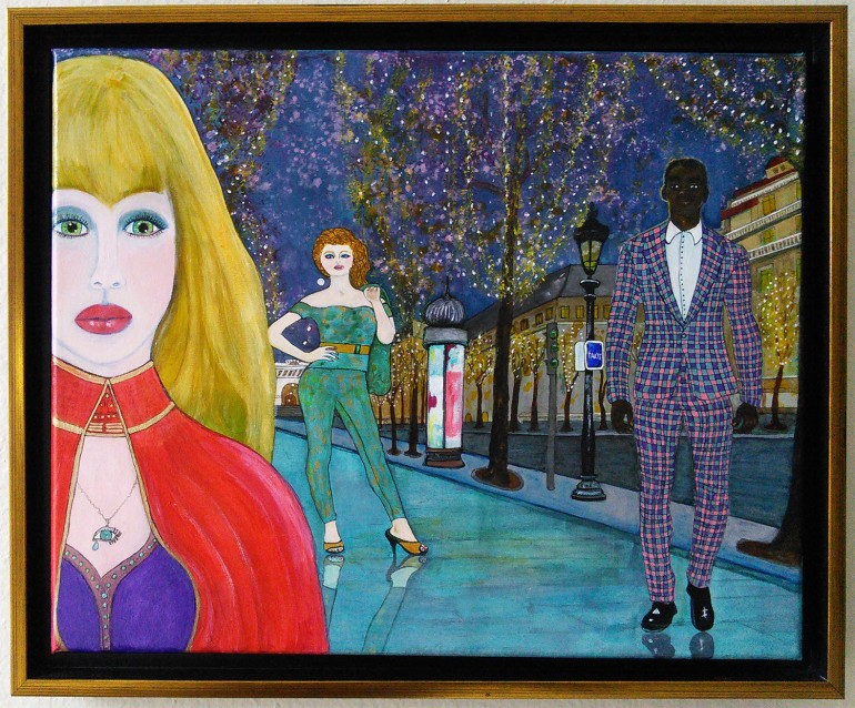 That Night In Paris by Audrey Breed - acrylic & ink on 11 x 14 x 3/4 inch canvas, framed