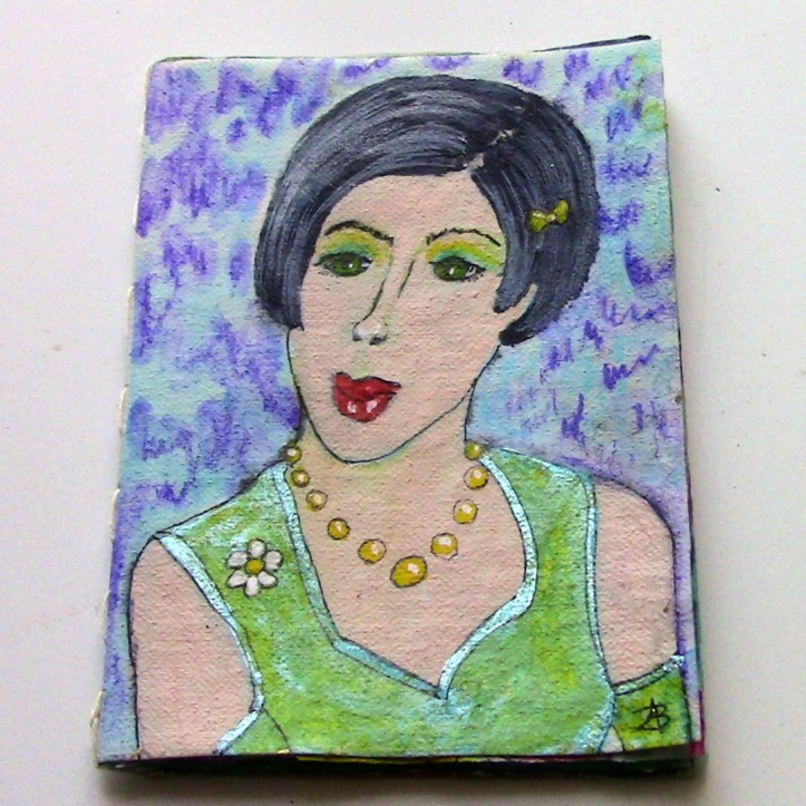 Recycled Teabag ACEO Book of Faces
