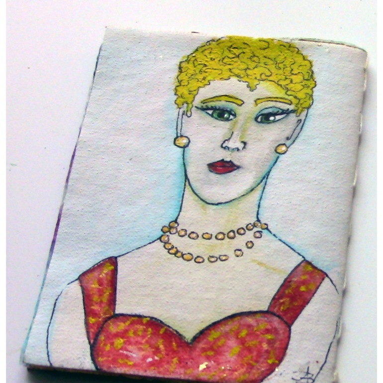 ACEO 10 Tiny Face Paintings Recycled Teabag Art Book 2.5 x 3.5 Inches OOAK