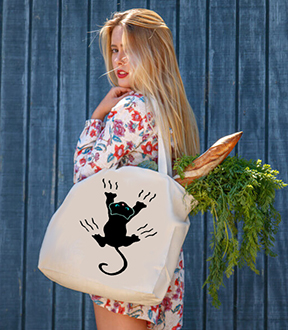 Crazy Cat Tote Bag - by Audrey Breed