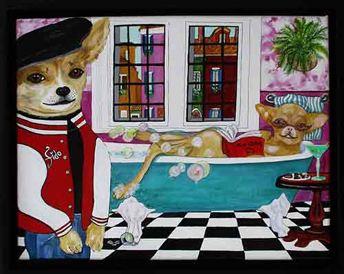 Fido and Fifi - acrylic and ink on 11 x 14 x 3/4 inch canvas, framed.
