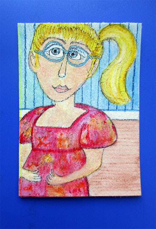 """Almost Mother's Day - mixed media aceo 3.5"""" x 2.5"""""""