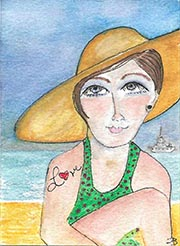 At the Beach - ACEO