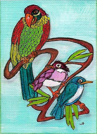 Birds - aceo mixed acrylic and ink on canvas paper