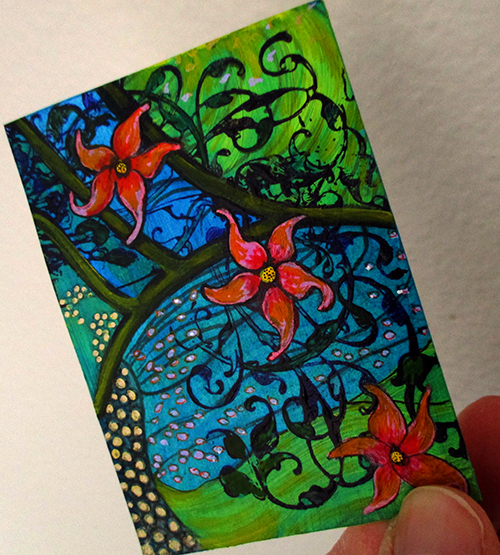 Floral Abstract - mixed media aceo on paper