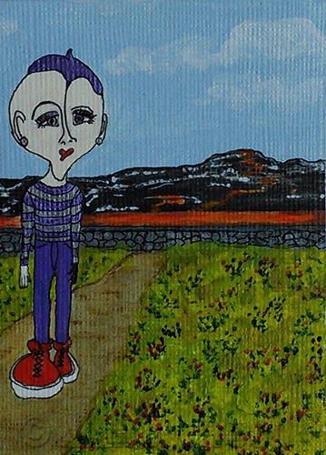 Max at Kilauea Volcano - ACEO mixed media painting