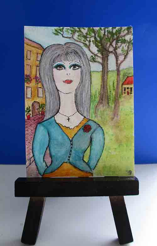 """The Realtor - ACEO 3.5"""" x 2.5"""" Mixed media on Arches 100% cotton paper"""