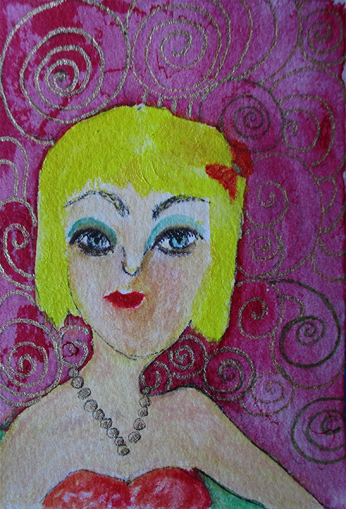 """Sandy - Mixed media ACEO 3.5"""" x 2.5"""" on Arches 100% cotton paper."""