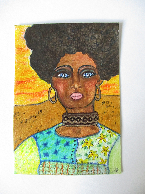 """Sarah - ACEO 3.5"""" x 2.5"""" mixed media on paper"""