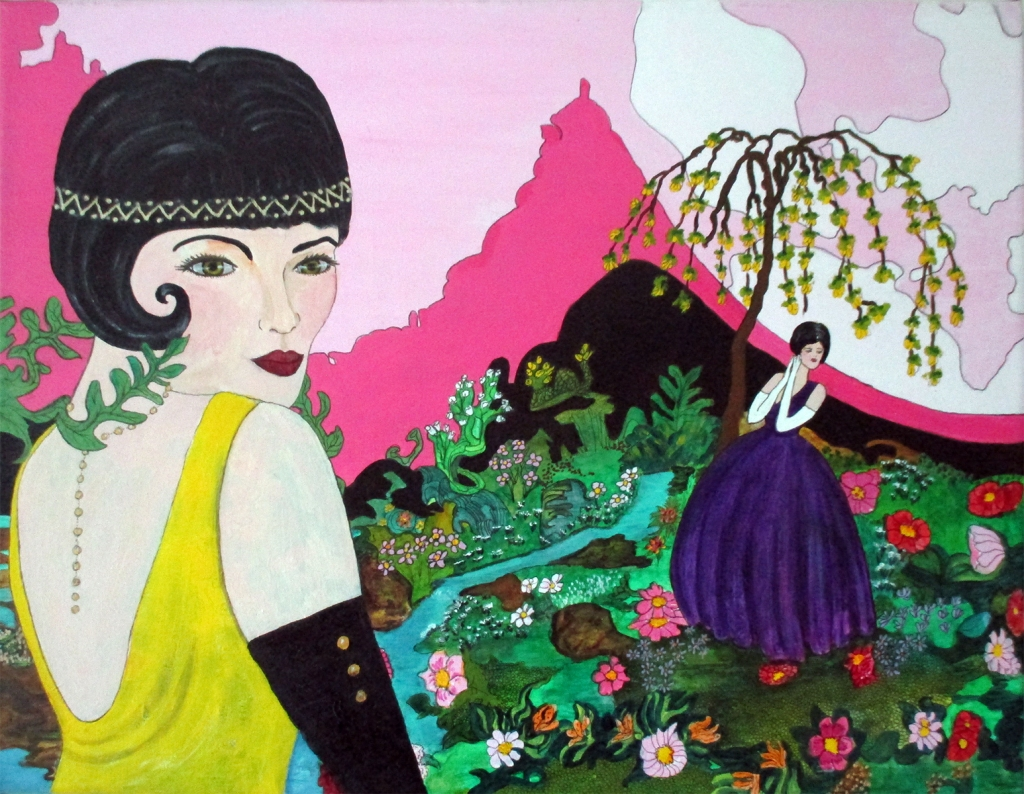 The Garden - original acrylic and ink on 11 x 14 inch canvas by Audrey Breed.