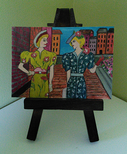Two Ladies in Holland - aceo, acrylic and ink on canvas paper