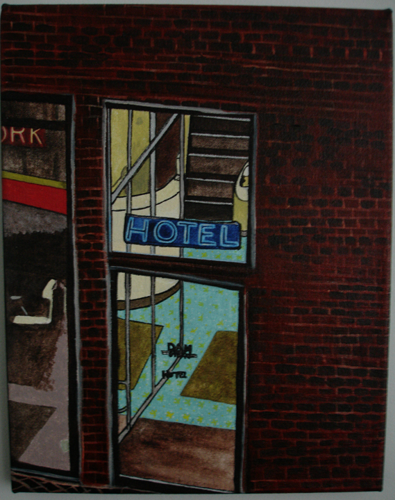 Dam Straat Hotel acrylic and ink on 14 x 11 x 1 inch canvas.