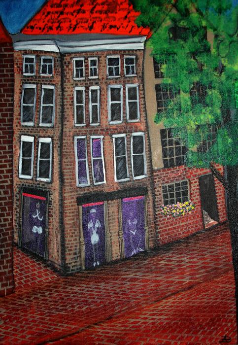 Oudezijds Voorburgwal mixed media painting