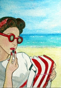 """At the Beach - ACEO 3.5"""" x 2.5"""" Mixed media on Arches 100% cotton paper"""