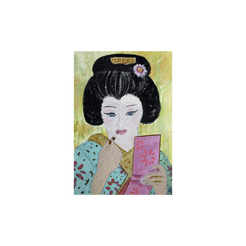 Geisha Lipstick - Oil on Arches 140 lb, cotton paper, 3.5 x 2.5 inches - sold