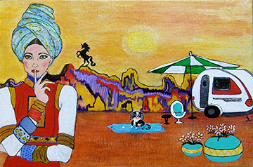 Desert Glamping - acrylic and ink on 4 x 6 panel by Audrey Breed - Art Abandonment
