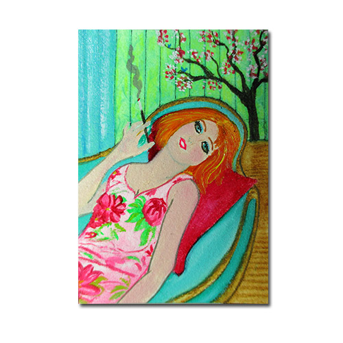 "Chillin' - ACEO 3.5"" x 2.5"" Oil on Arches 100% cotton paper"