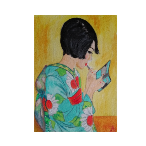 The New Kimono - ACEO oil on 3.5 x 2.5 inch cotton paper by Audrey Breed.