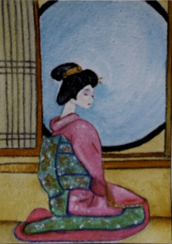 Pink Kimono - aceo oil on 3.5 x 2.5 inch paper