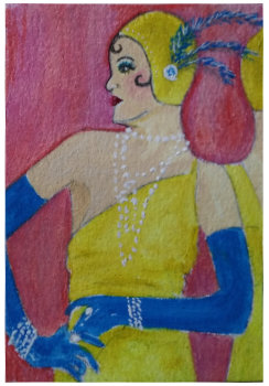 Chorus Line - mixed media on 3.5 x 2.5 inch cotton paper