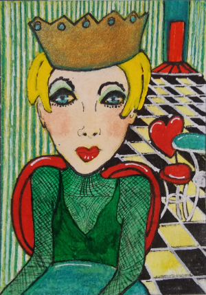 Alice Rocks Her Own Style - mixed media on 3.5 x 2.5 inch paper.