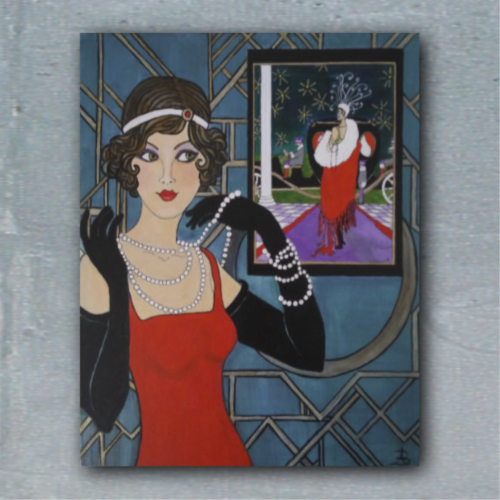 Looking Back on the 20's - acrylic and ink painting on 16 x 12 x 1/4 inch linen panel by Audrey Breed.